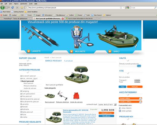 Navigarea prin meniul de produse al magazinului gonefishing.ro
