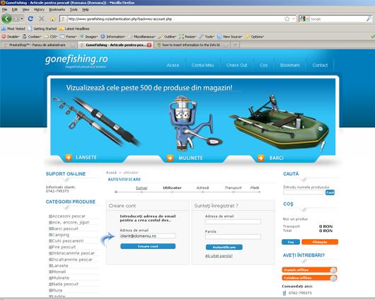 Adresa de mail pentru creare cont in magazinul gonefishing.ro