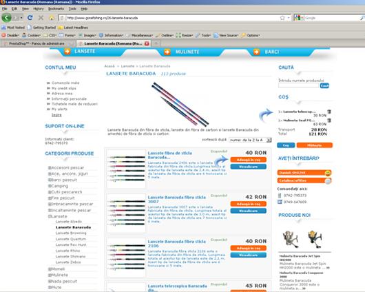 Achizitionarea de produse pe site-ul gonefishing.ro