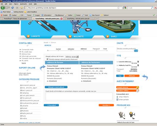 Finalizarea comenzii pe site-ul gonefishing.ro