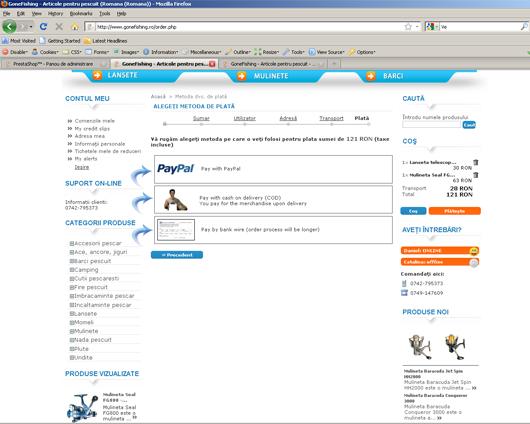 Alegerea metodei de plata pe site-ul gonefishing.ro