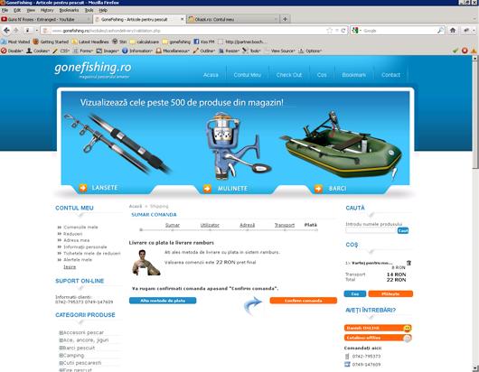 Confirmarea comenzii pentru site-ul gonefishing.ro